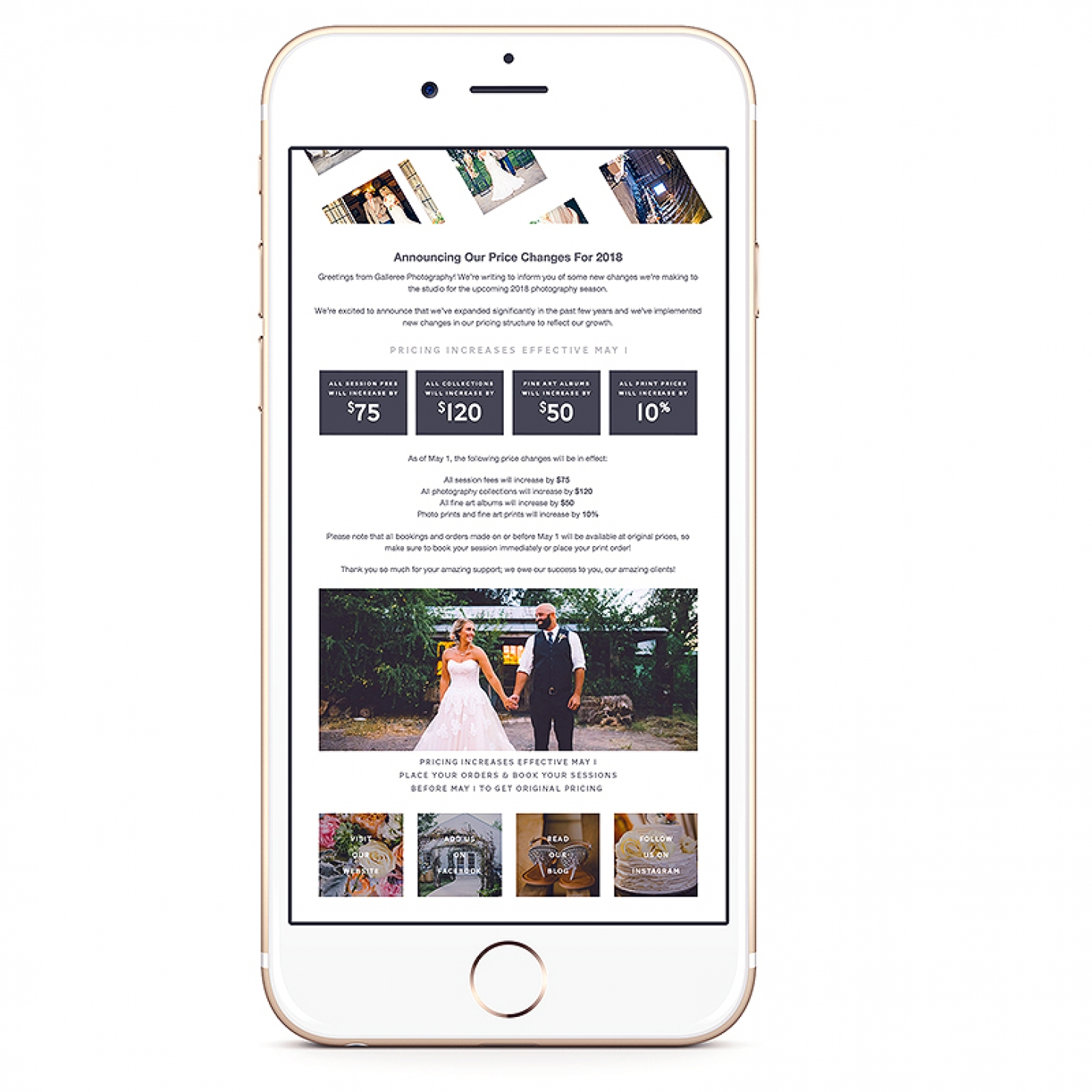 Pricing Increase Email Notification | Shopgalleree.com - Photography Marketing, Design Templates for Photographers