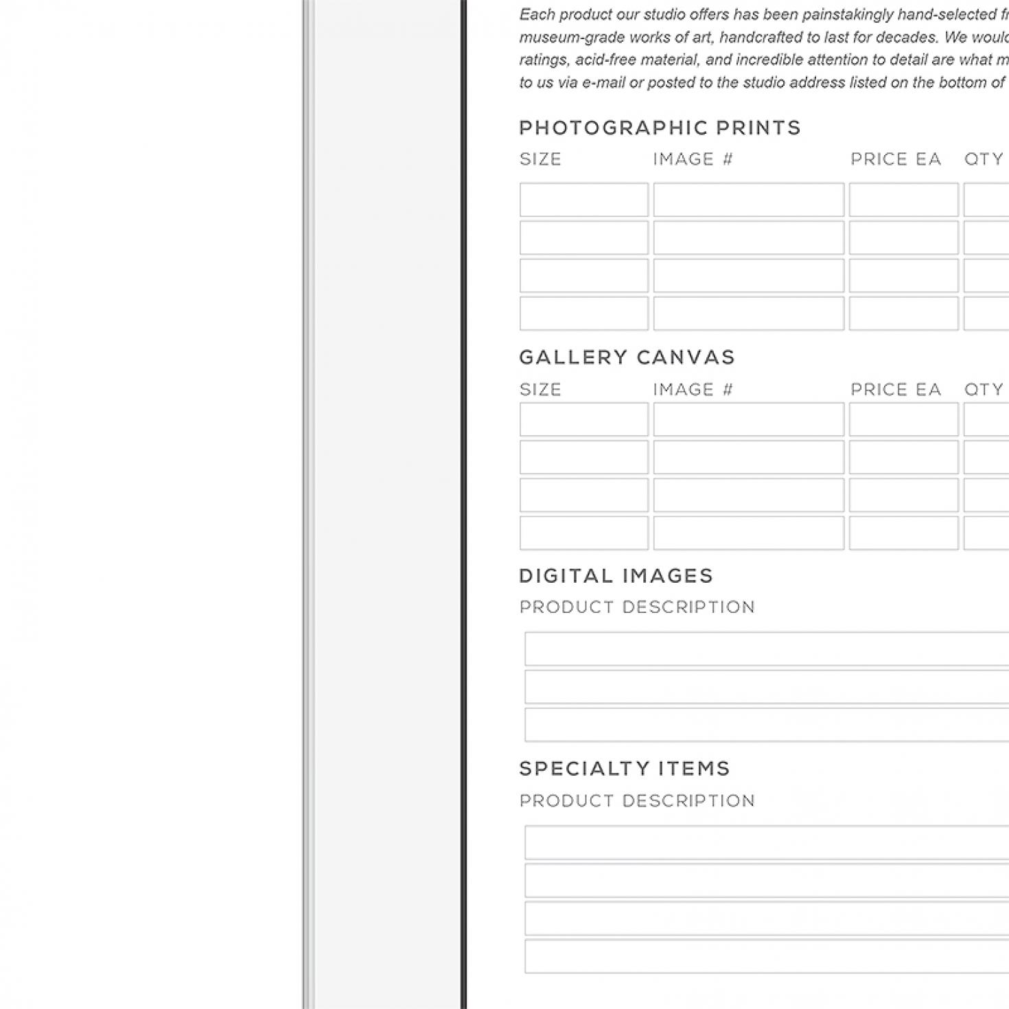 Interactive Studio Order Form Shopgalleree Photography