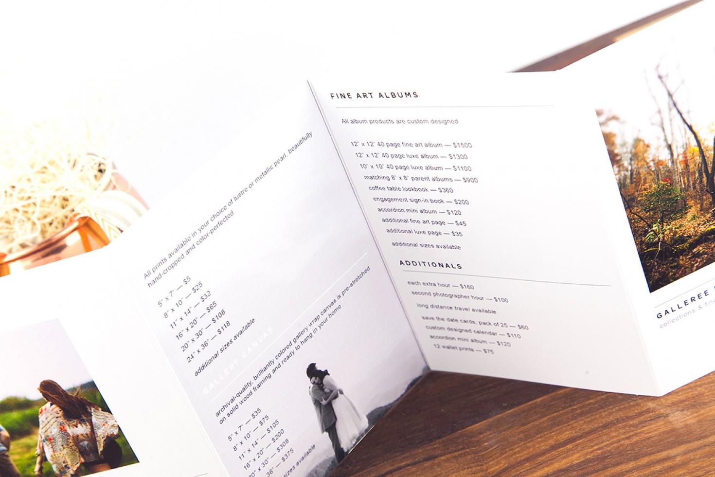 printable pricing brochure shopgalleree com photography